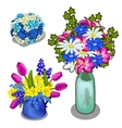 Three bright bouquet of flowers in vase and pot vector image vector image