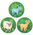 Three round banners with farm animals vector image vector image