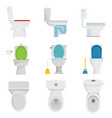 toilet bowl icons set isolated vector image vector image