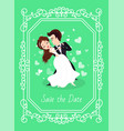 wedding card save day couple dancing love vector image vector image