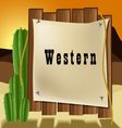 Western text frame vector image