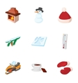 winter icons set cartoon style vector image vector image