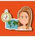 woman map world global travel vector image vector image