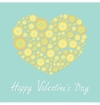 Yellow heart made from buttons Love card Flat vector image vector image
