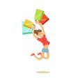 young happy woman in a casual clothes jumping with vector image vector image