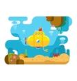 Submarine Under Water Flat vector image
