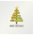 Abstract green Christmas tree with star and balls vector image