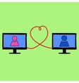 Doodle style love in internet vector image