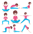 yoga life women yoga poses set vector image