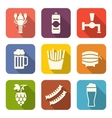 Group Minimal Colorful Icons of Beers and Snacks vector image
