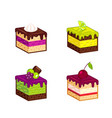 set of cakes pieces vector image