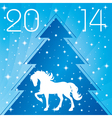 Background with horse silhouette Christmas tre vector image vector image