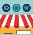 buy on line with store building vector image vector image