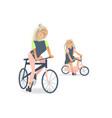cartoon mother girl kid bicycle vector image vector image