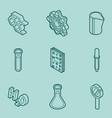 chemical color outline isometric icons vector image vector image