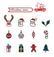 christmas line art color icons set christmas vector image vector image
