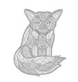 coloring book page with fox on white background vector image