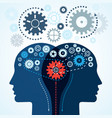 communication concept human two heads with gears vector image