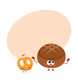 couple of smiling german pretzel and brown bread vector image vector image