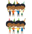 cute african-american boys and girls hugging and vector image vector image