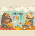 cute animals on autumn fair vector image vector image