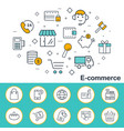 e-commerce banner in flat style outline icons vector image