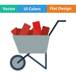Flat design icon of construction cart vector image vector image