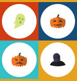 flat icon celebrate set of tomb phantom pumpkin vector image vector image