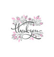 floral doodle elements and thank you lettering vector image