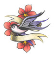 flying swallow with golden ribbon and flowers vector image vector image