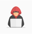 Hacker criminal in mask and hood with laptop vector image