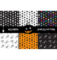 Halloween icons seamless patterns set vector image vector image