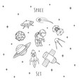 hand drawn space elements cosmonaut satellites vector image vector image