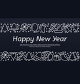 happy new year banner outline style vector image vector image