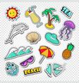 hello summer doodle beach vacation stickers vector image vector image