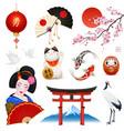 japan realistic symbols set vector image