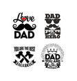 Logos and cards with typography about the dad