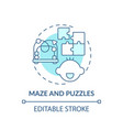 maze and puzzles turquoise concept icon vector image