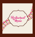 menu restaurant with cutlery set vector image vector image