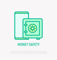 money safety thin line icon online banking vector image