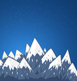 mountain landscape with snow top and stars vector image vector image