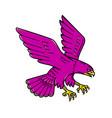 peregrine falcon swoop mono line vector image vector image