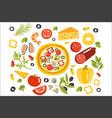 pizza preparation set of ingredients vector image