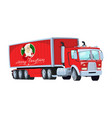 red truck with santa claus board christmas vector image vector image