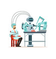 robot conducting experiment in a laboratory man vector image vector image