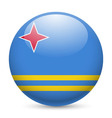 Round glossy icon of aruba vector image