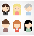Set of colorful female faces icons vector image vector image