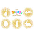 set of easter silhouettes gold vector image vector image