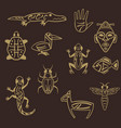 set of stylized tribal african symbols vector image vector image