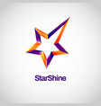 shiny star orange purple logo with track vector image vector image